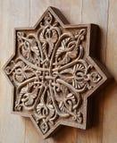 Ornament on wooden door Stock Photo