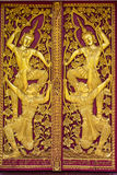 Ornament Wooden Door Of Thai Temple In Chiangmai, Thailand Royalty Free Stock Photos