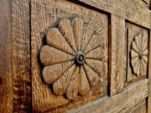 Carving in the door of historical house, Pelhrimov, Czech Republic stock photography
