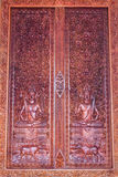 Ornament wooden window of Thai temple in Wat Sri Don Moon , Chia Stock Photo