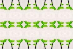 Ornament zieleń liście w lodzie Obrazy Stock