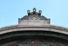 Ornamentacja na dachach Nijo kasztel w Kyoto fotografia royalty free