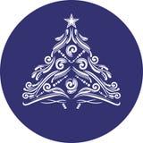 Ornamentacyjna Bożenarodzeniowa świerczyna Ikona dla projekta lub loga Zdjęcie Royalty Free