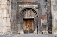 Ornamentacyjna brama antyczny Geghard monaster, Armenia, unesco Obraz Royalty Free