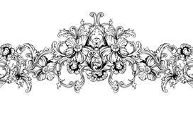 Ornamentacyjna granica, rama wzór baroku bezszwowy wektora ilustracji