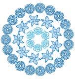 Ornamentacyjna indyjska round rama z kwiatami royalty ilustracja