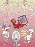 Ornamentacyjna karta z kolorowymi ptakami Zdjęcia Stock