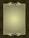 Ornamentacyjna rama na adamaszka wzoru tła karcie Zdjęcia Stock