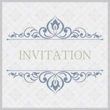 Ornamentacyjna rocznik ilustracja dla ślubnych zaproszeń, kartka z pozdrowieniami ilustracja wektor