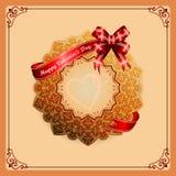 Ornamentacyjna stellated różyczka z Szczęśliwym walentynka dnia tekstem Zdjęcie Stock