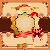 Ornamentacyjna stellated różyczka z Szczęśliwym walentynka dnia tekstem Fotografia Royalty Free