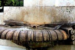 Ornamentacyjna wodna fontanna i popielaty gołąb obrazy royalty free