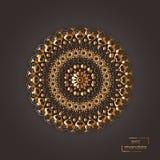 Ornamentacyjnego złocistego kwiatu orientalny mandala na brown koloru backgroun Zdjęcie Stock