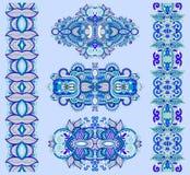 Ornamentacyjny etniczny błękitny kwiecisty Paisley przybranie royalty ilustracja