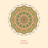 Ornamentacyjny kolorowy kwiecisty mandala na lekkiego koloru tle ST Zdjęcie Royalty Free