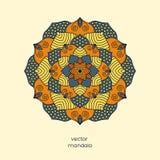 Ornamentacyjny kolorowy kwiecisty mandala, ręka rysujący geometryczny tupocze Zdjęcie Stock