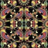 Ornamentacyjny kolorowy piękny Paisley wektorowy bezszwowy wzór Kwiecisty jaskrawy etniczny styl deseniujący tło Elegancja Paisle ilustracji