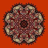Ornamentacyjny kolorowy wektorowy mandala na czerwieni sztuka ilustracji