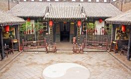 Ornamentacyjny podwórze dziejowy dom w Pingyao, Chiny zdjęcia royalty free