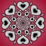 Ornamentacyjny round koronki wzór od serc Obraz Stock
