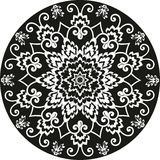 Ornamentacyjny round kwiecisty deseniowy czarny i biały Obraz Royalty Free