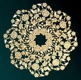 Ornamentacyjny złocisty kwiat - Wektorowa ilustracja Ilustracji