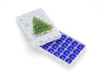 ornamental голубой коробки шариков Стоковые Изображения