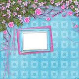 Ornamental abstract background with sakura. And roses stock illustration