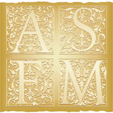 Ornamental antique letters. Set of 4 ornamental letters - A, S, F, M Royalty Free Stock Images