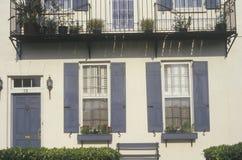 Ornamental apartment windows and balcony, Savannah, GA Royalty Free Stock Photo
