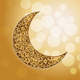 Ornamental arabic golden moon. Bokeh lights. royalty free illustration