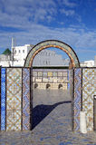 Ornamental arch on roof top terrace in Tunisia Royalty Free Stock Photography