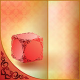Abstract Ornamental Background. Ornamented red cube in front of colorful background fulfill with arabesque pattern Stock Images