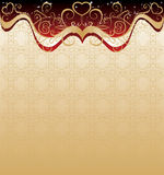 Ornamental background. With heart-shapes stock illustration