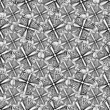 Ornamental background with doodle graphic flowers. Black and white ethnic seamless pattern for fabric, textile, wrapping Royalty Free Stock Photography