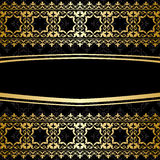 Ornamental vector background with golden decorations - black Royalty Free Stock Photos