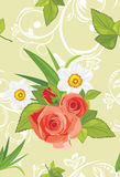 Ornamental background with roses and daffodils Stock Photography