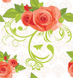Ornamental background with roses. Pattern. For fabric. Illustration Royalty Free Stock Photography