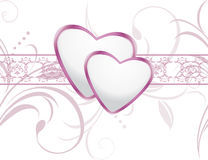 Ornamental background with shining hearts Stock Photo
