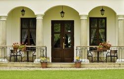Ornamental backyard entrance to the manor house stock photo