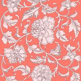 Ornamental Beautiful Coral Color Antique Floral Pattern With Peonies. Vector Illustration, Asian Texture For Printing On Packaging Royalty Free Stock Photo