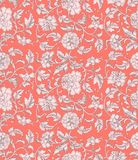 Ornamental beautiful coral color antique floral seamless pattern with peonies. Asian texture for printing on packaging, textiles, royalty free illustration