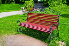 Ornamental bench in park Royalty Free Stock Images