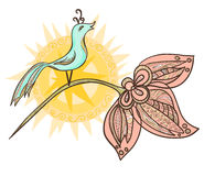 Ornamental Bird With The Sun On A Flower Stock Photos