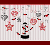 Ornamental birdcages and red hearts Royalty Free Stock Photo