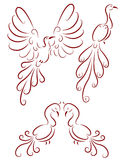 Ornamental birds stock illustration