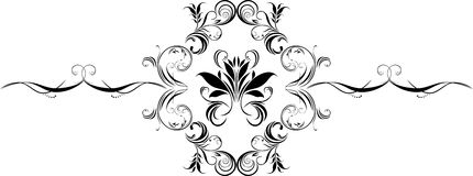 Ornamental black element isolated on the white Royalty Free Stock Image
