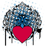 Ornamental black frame with pink heart Royalty Free Stock Images