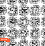 Ornamental black and white seamless floral pattern. Decorative beauty background with flowers. Royalty Free Stock Photos