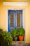 Ornamental blue doors, Samos, Greece Stock Photos